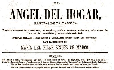 Cabecera de la Revista El Ángel del Hogar