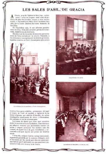 Imágenes del Colegio fundado por María Josefa Masannès en el Barrio barcelonés de Gracia en 1864. Ilustració Catalana