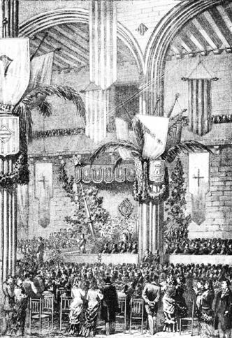 Juegos Florales de Barcelona celebrados en el Salón de la Lontja. 1881. Ilustrció Catalana