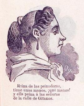 Ejemplo de tipo madrileño. Peinadora. Almanaque el Cascabel. Madrid. 1867